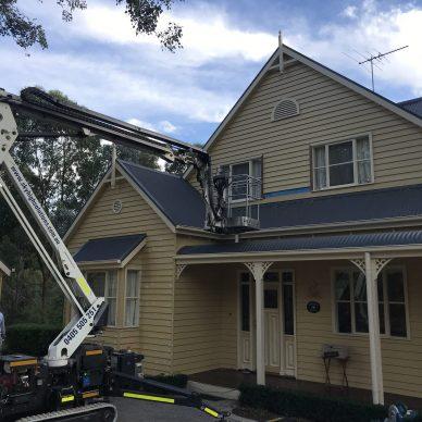 Boom Lift Painting Weatherboard Home MJ Harris